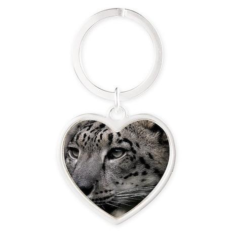 Snow leopard Heart Keychain