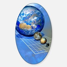 Earth and Moon with dwarf planets Sticker (Oval)