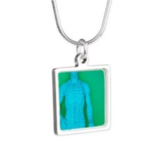 Acupuncture model Silver Square Necklace