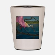 Swagger - Roseate Spoonbill Over Water Shot Glass