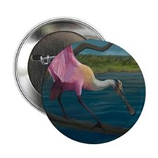 """Swagger - Roseate Spoonbill Over Wate 2.25"""" Button"""