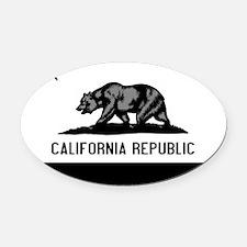 California Flag Black and Grey Oval Car Magnet