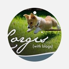3rd Annual Corgis (with blogs) Cale Round Ornament