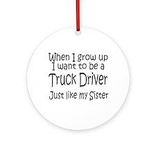 WIGU Trucker Sister Ornament (Round)