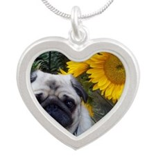 Sunflowers Silver Heart Necklace