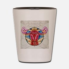 Artwork of the uterus during menstruati Shot Glass
