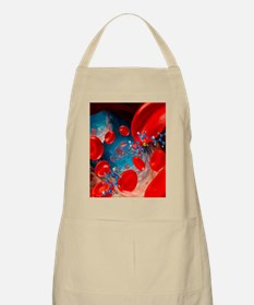 Red blood cells and molecules, artwork Apron