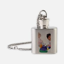 Babies with building blocks Flask Necklace