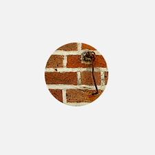 Latch Hook on Brick Wall Mini Button