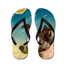 Laika the space dog postcard Flip Flops
