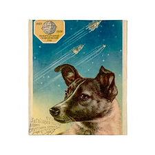 Laika the space dog postcard Throw Blanket