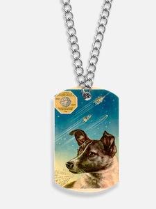 Laika the space dog postcard Dog Tags