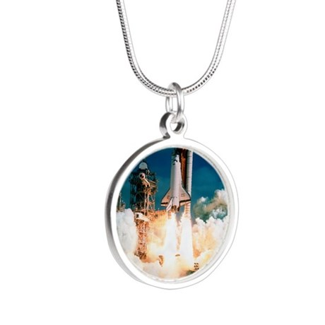 Space Shuttle launch Silver Round Necklace