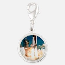 Space Shuttle launch Silver Round Charm