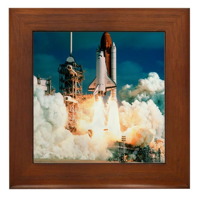 Space Shuttle launch Framed Tile by Admin_CP66866535