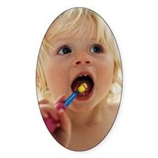 Baby girl brushing teeth Decal