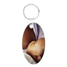 Baby boy breastfeeding Aluminum Oval Keychain