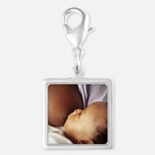 Baby boy breastfeeding Silver Square Charm