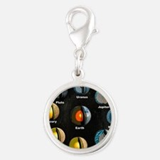 Planets' internal structures Silver Round Charm