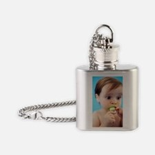 Baby girl sucking a dummy Flask Necklace
