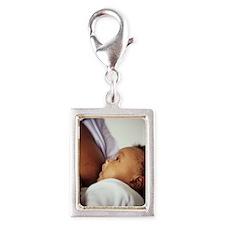 Baby boy breastfeeding Silver Portrait Charm