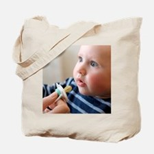 Baby boy with dummy Tote Bag