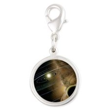 Saturn and solar system Silver Round Charm