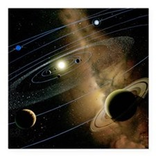 "Saturn and solar system Square Car Magnet 3"" x 3"""