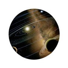 """Saturn and solar system 3.5"""" Button"""