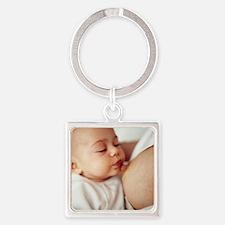 Baby girl breastfeeding Square Keychain