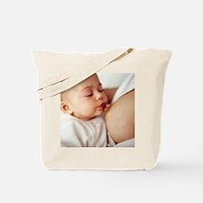 Baby girl breastfeeding Tote Bag