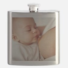 Baby girl breastfeeding Flask