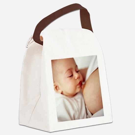 Baby girl breastfeeding Canvas Lunch Bag