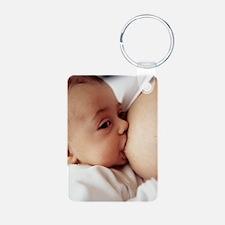 Baby girl breastfeeding Keychains