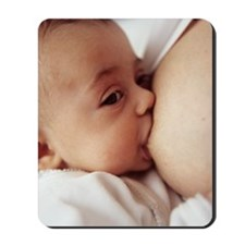 Baby girl breastfeeding Mousepad