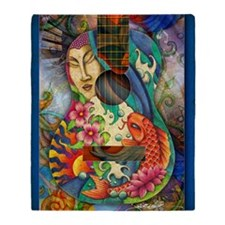 Buddha, Koi, Lotus, Guitar Throw Blanket