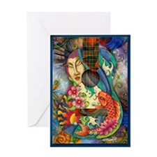 Buddha, Koi, Lotus, Guitar Greeting Card