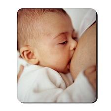 Baby girl breastfeeding Mousepad