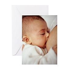Baby girl breastfeeding Greeting Card