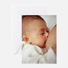 Baby girl breastfeeding Greeting Card