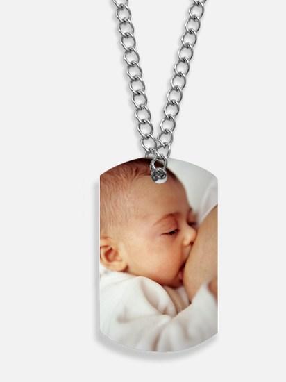 Baby girl breastfeeding Dog Tags