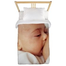 Baby girl breastfeeding Twin Duvet
