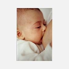 Baby girl breastfeeding Rectangle Magnet