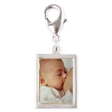 Baby girl breastfeeding Silver Portrait Charm