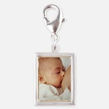 Baby girl breastfeeding Silver Portrait Charm