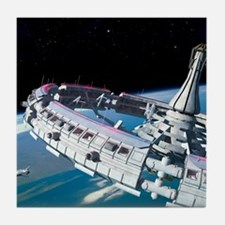 Space station orbiting Earth Tile Coaster