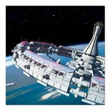 """Space station orbiting E Square Car Magnet 3"""" x 3"""""""