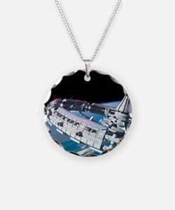 Space station orbiting Earth Necklace