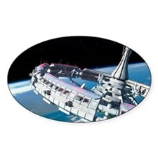 Space station orbiting Earth Decal