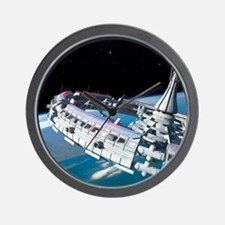 Space station orbiting Earth Wall Clock